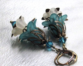 Layered Lucite Flower Earrings Antique Brass Leverbacks Swarovski Crystals Teal & Cream Spring Florals