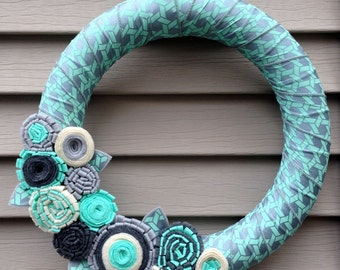 Summer Wreath - Spring Wreath - Geometric Wreath - Felt Flower Wreath - Ribbon Wreath - Ribbon and Felt Flower Wreath - Teal Wreath