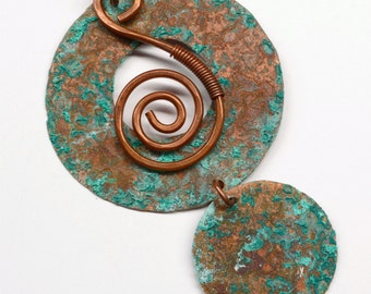 Handmade Rustic Copper Pendant Component with Patina