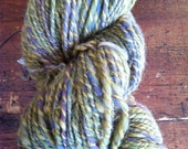 Swamp Flowers. Hand dyed, hand spun sheeps wool yarn knitting crochet purple yellow