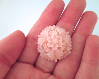4 Pink Flower Cabochons 30mm