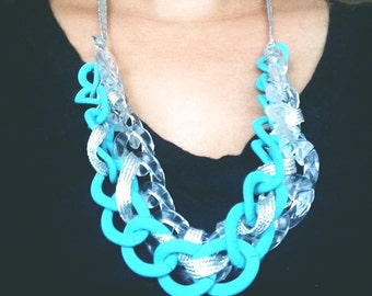Chunky ribbon wrapped chain necklace