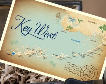 Vintage Map Postcard Save the Date (Key West, Florida) - Design Fee