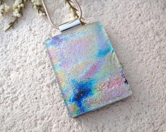 Rainbow Pink Blue Gold Necklace,Dichroic Glass Jewelry, Fused Glass Jewelry, Dichroic Glass Jewelry, Glass Pendant, Glass Jewelry 041215p104