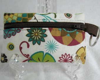 Coin Purse Floral - Cream Change Purse - Small Zippered Pouch - Key Chain Zip Pouch - Abstract Floral