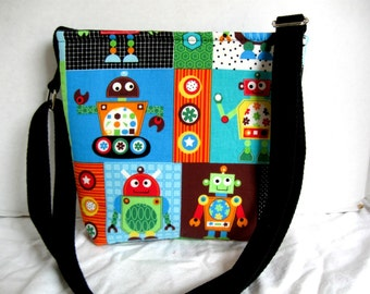 Robot Blocks Hip Bag - Robot Cross Body Purse -Techie Over the Shoulder Bag - Sci Fi Hipster- Adjustable Long Strap - Cute Robot Purse
