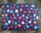 paw print coin purse, stitch marker pouch, gift card pouch, credit card case, Colorful Paws, The Raven