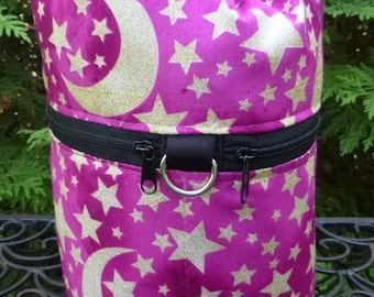 Moon and Stars Knitting bag, drawstring bag, knitting in public bag, small project bag, Kipster, Pick Your Color