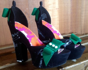 Womens shoes/Black one of a kind suede platform heels