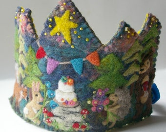 Woodland Birthday Crown: Custom Made for Dressup and Birthday Celebrations (Waldorf Tradition)
