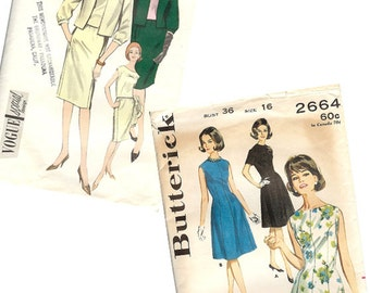 1960's Vintage Dress Sewing Pattern Vogue 5954 & Butterick 2664