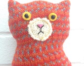 Flat Cat soft toy handmade recycled woollen kitten - Hannah
