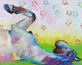 """Original Horse Rolling Feet in the Air Painting 10""""x30"""" fun and freespirited"""