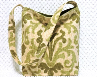 Tulip Damask Handbag - Woven Brocade Damask Hobo Bag Purse - Handmade Purse - Damask Gift for Her - Olive Green Damask Purse - Handmade Gift