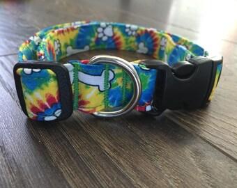Rainbow Tie-Dye Bone Dog Collar