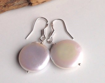 Etsy, Etsy Jewelry, Coin Freshwater Pearl Earrings, White Pearl Earrings, Round Pearls, Drop Earrings, Sterling Earwires, Bridal Earrings