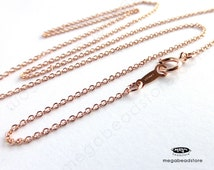 2 pcs 18 inch 1.1mm Cable Chain Finished Necklace 14K Rose (Pink) Gold Filled Markd 1/20 14K- FC24