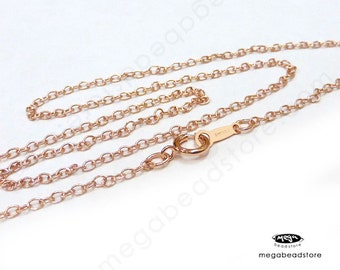 18 in 14K Rose (Pink) Gold Filled Cable Chain Necklace with clasp  2mm FC19