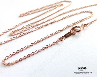 16 inch 1.1mm Cable Chain Finished Necklace 14K Rose (Pink) Gold Filled Markd 1/20 14K- FC24- 2 pcs
