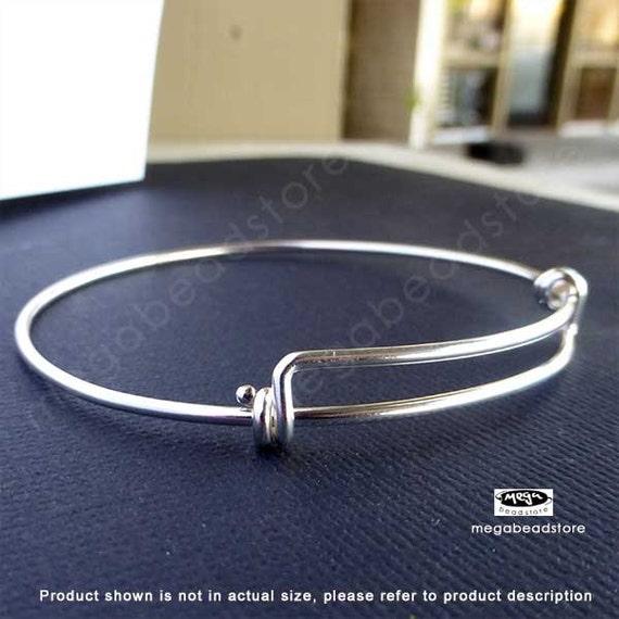 14 Gauge Thick Sterling Silver Adjustable 8-9.5 inch Bangle Bracelet F445- 1 pc