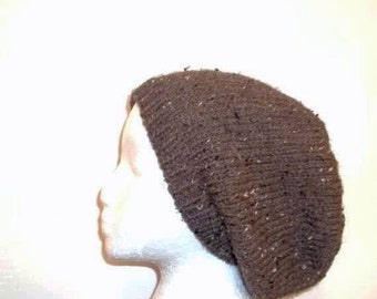 Brown slouch hat, oversized beanie, hand knitted.     5100
