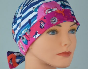 Surgical Scrub Hat or Chemo Cap- The Mini with Fabric Ties-  Poppies