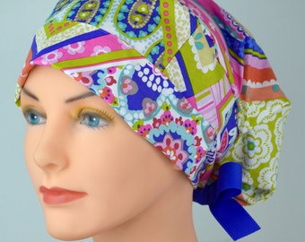 SMALL Surgical Scrub Cap or Cancer Hat -Perfect Fit Tie Back with Ribbon Ties - Handkerchief Paisley