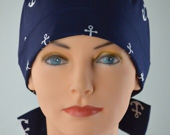 Surgical Scrub Hat Chemo Cap- The Mini with FABRIC TIES- Anchors Away