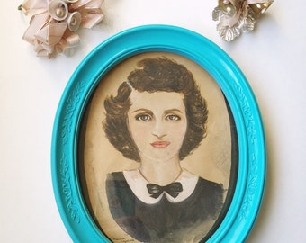 Vintage Oval Picture Frame Upcycled Wall Decor Seaside Turquoise