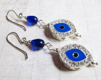 The Nazar - Glittering Rhinestone Evil Eye Earrings