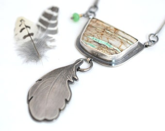 Forever Feather Necklace, Sterling Silver Green Variscite Chyrsoprase