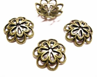 10pc antique bronze fancy 15mm metal bead cap-4072