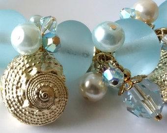 Lampwork Seashell Bracelet, Aqua Lampwork, Gold Seashells, Upscale Beach Jewelry, Swarovski Crystals, Glass Pearls, Nautical...Blue Lagoon
