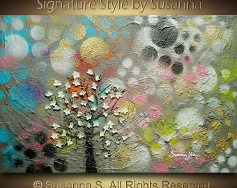 Original Abstract Tree Art Surreal Acrylic Oil painting Mixed Media Home Decor Multicolored Modern Colorful Textured Painting 36x24 ~Susanna