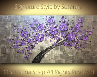 ORIGINAL Purple Cherry Blossom Art Tree Painting Large Landscape Oil Painting Textured Modern Palette Knife Art by Susanna 48x24 Made2Order