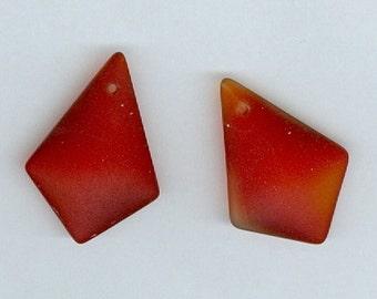 Set 2 Red 28mm Diamond Sea Glass Pendant Bead