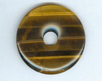 40mm Brown Tiger Eye Gemstone Focal PI Donut Pendant Tigers Eye Doughnut 612b4