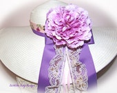 Monogrammed Shabby Chic Floppy Hat Lavender Purple Custom Bridal Wedding Derby Cup Race ribbons with lace & floral hat bands. New Item OOAK