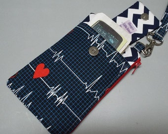 Womens Small Wristlet Wallet or Bag with Smart Phone Pocket Calling All Nurses Fabric
