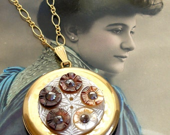 Antique BUTTON locket gold necklace, 1800's Victorian mother of pearl on gold.