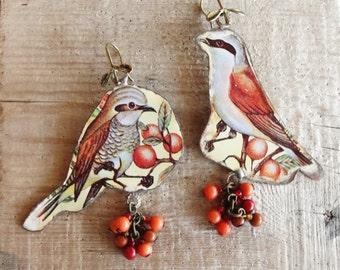 Asymmetrical Bird Earrings Vintage Tin Earrings Statement Earrings Soldered Hammered Birds and Berries