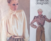 Vogue American Designer Anne Klein Blouse pattern 2611 Pussy Bow Puff Sleeves 31 or 32 bust