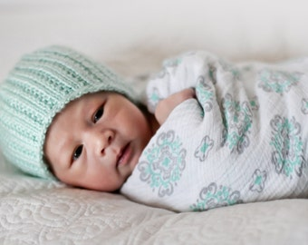 Jack and Jill Ribbed Beanie - Knitting PATTERN - pdf format for newborn, infant, toddler, child, teen and adult