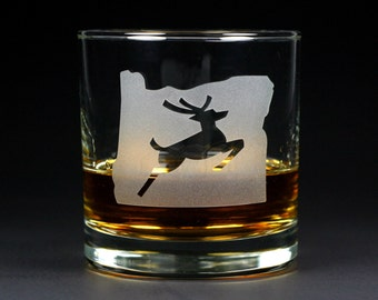 Oregon Stag Lowball Glass - Portland etched whiskey glass
