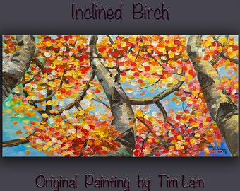Birch art Painting Wall art Original abstract Oil painting, frame canvas art, Modern decor art, Wall hanging by Tim Lam. Size: 48x24