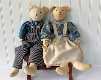 Primitive Dolls - Boy and Girl - in a Country Dress and Overalls - Blue and Ivory - Pair of Fabric Dolls