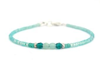 Friendship Bracelet, Seed Bead Bracelet, Beaded Bracelet, Aqua Teal Friendship Bracelet, Tiny Bracelet, Aqua Blue Silver Plated Bracelet
