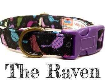"Modern Dog Collar - Black Bird Dog Collar - Organic Cotton - Antique Brass Hardware - ""The Raven"""