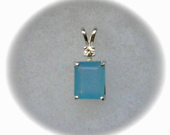 10x8mm Blue Chalcedony Gemstone with White Sapphire Gemstone Accent in 925 Sterling Silver Pendant Necklace