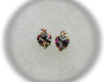 5mm Mystic Topaz Heart with 2mm White Topaz Accent Gemstones in 10k Yellow Gold Stud Earrings